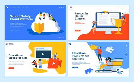 Set of flat design web page templates of education, online training and courses, educated app and cloud. Illustration