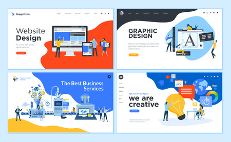 Set of flat design web page templates of graphic design, website design and development, social media, business services.