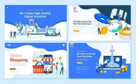 Set of flat design web page templates of web development, business apps and solutions, startup, online shopping. Vector Illustratie