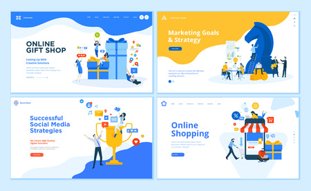 Set of flat design web page templates of social networking, business solutions, seo, project gallery