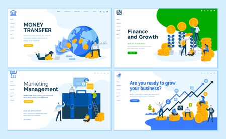 Set of flat design web page templates of business, finance, online money transfer, consulting.