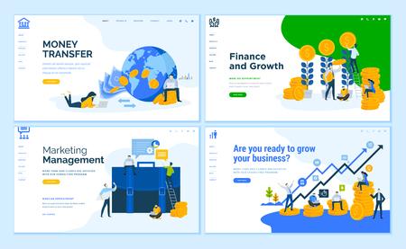 Set di modelli di pagine web di design piatto di affari, finanza, trasferimento di denaro online, consulenza.