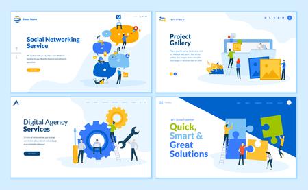 Set of flat design web page templates of e-commerce, marketing, business strategy, social media. Illustration