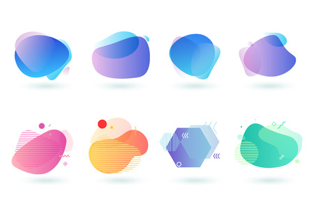 Ensemble d'éléments de conception graphique abstraite. Illustrations vectorielles pour la conception, le développement de sites Web, le dépliant et la présentation, l'arrière-plan, la conception de la couverture, isolées sur blanc.