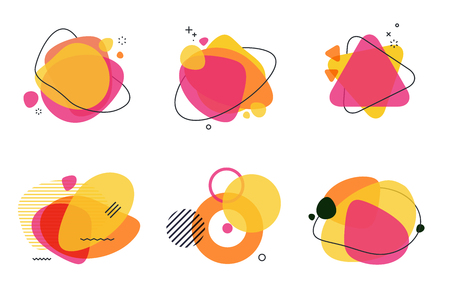 Set of abstract graphic design elements. Vector illustrations for  design, website development, flyer and presentation, background, cover design, isolated on white. Иллюстрация