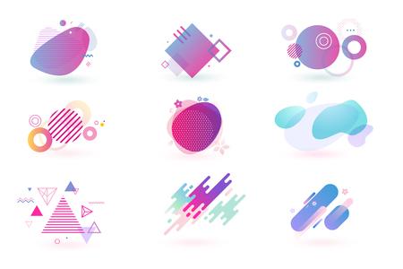 Ensemble d'éléments de conception graphique abstraite. Illustrations vectorielles pour la conception, le développement de sites Web, le dépliant et la présentation, l'arrière-plan, la conception de la couverture, isolées sur blanc. Vecteurs