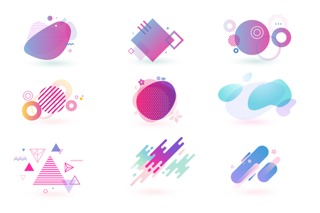Set of abstract graphic design elements. Vector illustrations for design, website development, flyer and presentation, background, cover design, isolated on white.