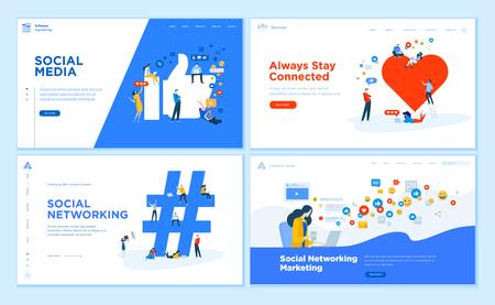 Collection de modèles de conception de pages Web de médias sociaux, communication en ligne, réseautage, marketing numérique. Concepts d'illustration vectorielle design plat pour le développement de sites Web et de sites Web mobiles.