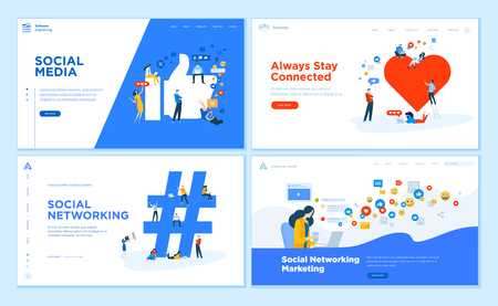 Web page design templates collection of social media, online communication, networking, digital marketing. Flat design vector illustration concepts for website and mobile website development. Ilustração
