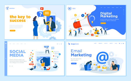 Colección de plantillas de diseño de páginas web de marketing en Internet, redes sociales, marketing por correo electrónico, soporte en línea, comunicación moderna. Conceptos de ilustración de vector de diseño plano para el desarrollo de sitios web y sitios web móviles.