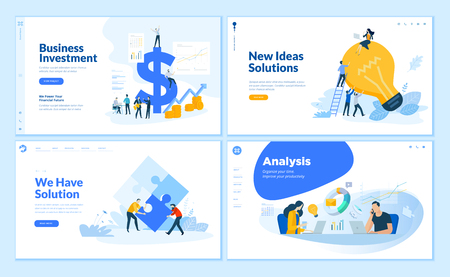 Web page design templates collection of business solution and analysis, startup, innovative ideas, investment. Flat design vector illustration concepts for website and mobile website development. Ilustracja
