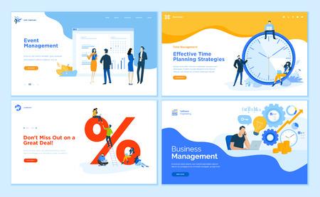 Web page design templates collection of event management, business management, e-commerce, time management. Flat design vector illustration concepts for website and mobile website development. Ilustracja