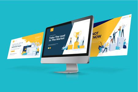 Webdesign-Vorlage. Vektorillustrationskonzept von Website-Design und -Entwicklung, App-Entwicklung, SEO, Geschäftspräsentation, Marketing.