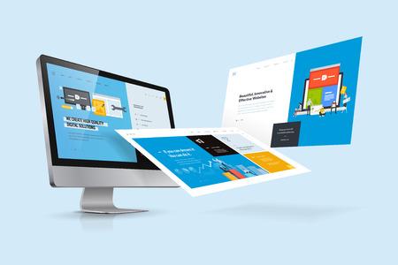 Modèle de conception Web. Concept d'illustration vectorielle de conception et développement de sites Web, développement d'applications, référencement, présentation d'entreprise, marketing.