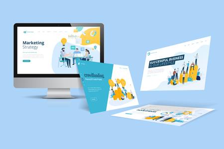 Webdesign-Vorlage. Vektorillustrationskonzept von Website-Design und -Entwicklung, App-Entwicklung, SEO, Geschäftspräsentation, Marketing. Vektorgrafik