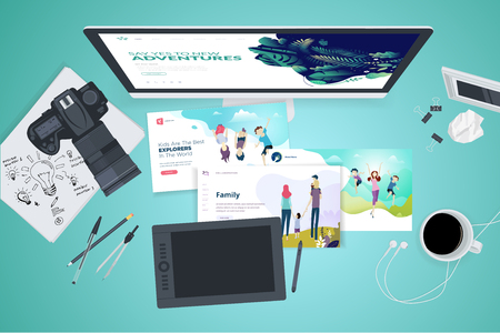 Creative workspace concept, top view. Ilustracja
