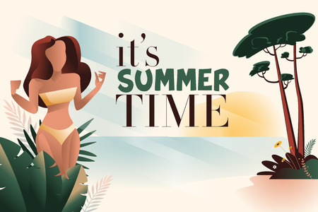 Summer time banner Illustration