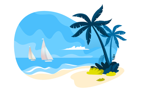 Flat design concept for web and social media banner summer card template, travel and holiday ads, advertising material.