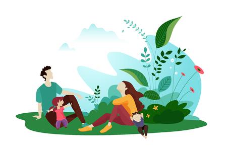 Concepto de diseño plano para la plantilla de tarjeta de verano de banner web y redes sociales, anuncios de viajes y vacaciones, material publicitario. Ilustración de vector
