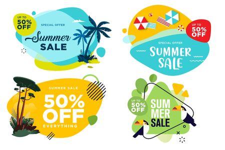 Set of summer sale labels and badges.
