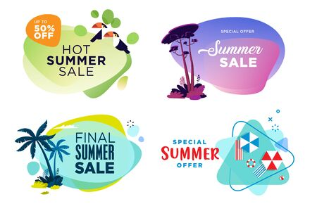 Set of summer sale labels and stickers.