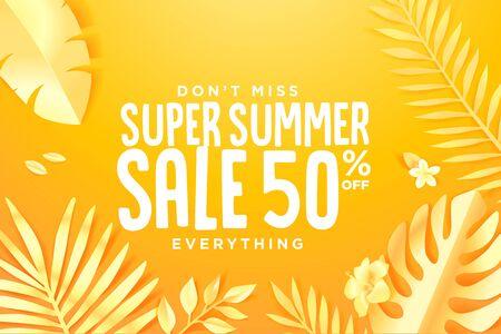 Summer sale. Web banner template design. Ilustracja