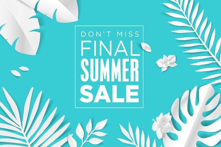 Summer sale. Web banner template design. Illustration