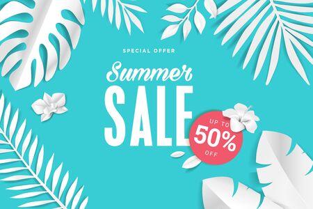 Summer sale. Web banner template design. Illustration