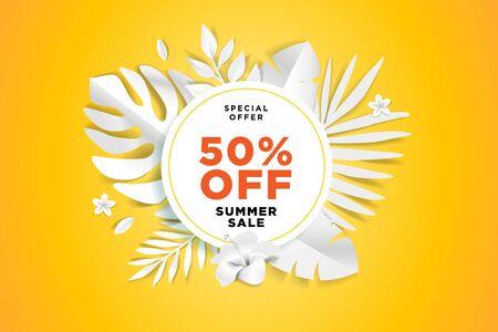 Summer sale sign. Concept for website design, advertising, social media banner, ads, sale promotion, poster, marketing material. Ilustracja
