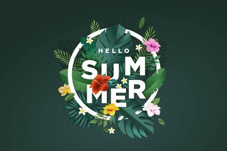 Summer sign. Concept for website design, advertising, social media banner, ads, sale promotion, poster, marketing material. Ilustracja