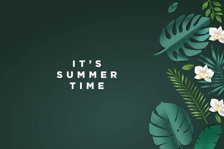 Summer time. Web banner template design.