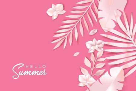 Hello Summer. Web banner template design.