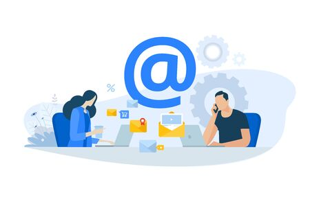 Flat design concept of email marketing, newsletter, digital advertising. Иллюстрация