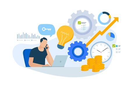 Concepto de diseño plano de consultoría, gerente de cuentas clave, plan de negocios.