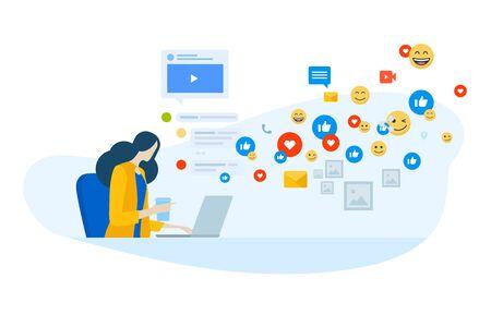 Flat design concept of social media, internet marketing, networking, online communication. Ilustracja