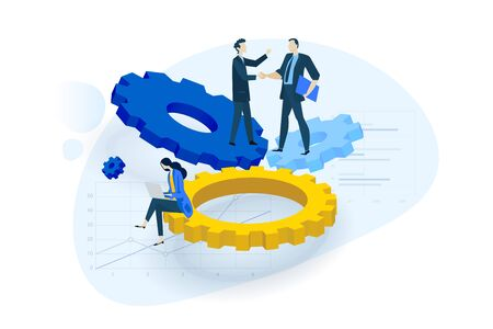 Flat design concept of business service, partnership, project management, research and development. Vector illustration for website banner, marketing material, business presentation, online advertising.