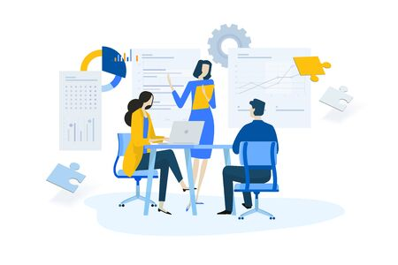Flat design concept of meeting, business presentation, training, annual report. Ilustracja
