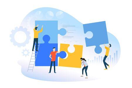 Płaska koncepcja pracy zespołowej, budowania zespołu, zarządzania zespołem. Ilustracje wektorowe