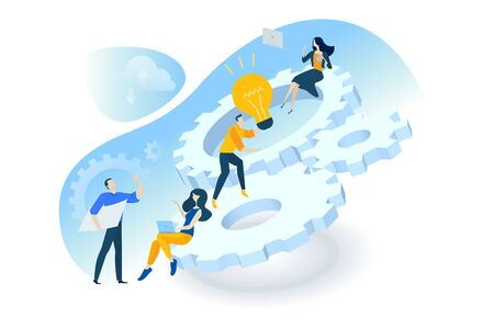 Flat design concept of project management, teamwork, business mechanism, research and development.