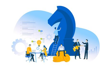 Flat design concept of business strategy and planning. Ilustracja