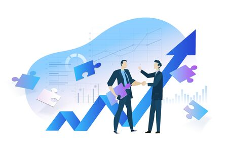 Flat design concept of business analysis and planning, increase profits, business growth.