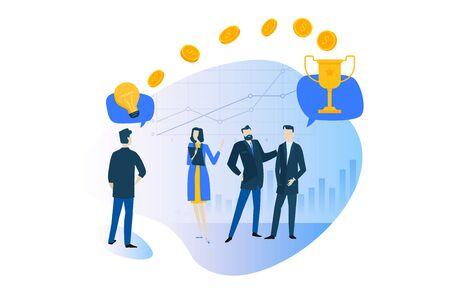 Flat design concept of business success, big idea, crowdfunding, startup, investment. Ilustracja