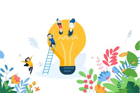 Flat design concept of creative workshops for children, creative idea, educational apps. Ilustracja