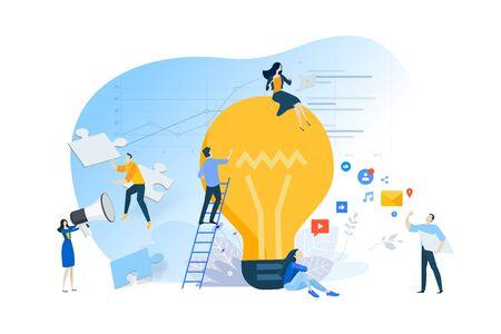 Flat design concept of idea, creative process, teamwork, internet advertising. Ilustracja