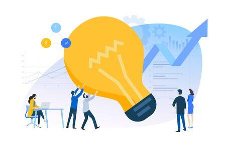 Flat design concept of innovative solutions, improvements. Ilustracja