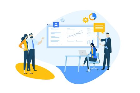 Flat design concept of our team, business analysis and planning, time management. Ilustracja