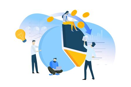 Flat design concept of analysis, planning, market research, finance, investment. Ilustracja