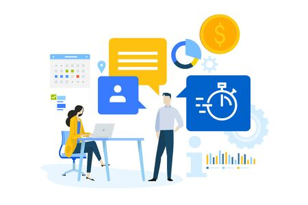 Flaches Designkonzept von Business-Management-Software, Datenanalyse, Aufgabenmanagement. Vektorgrafik