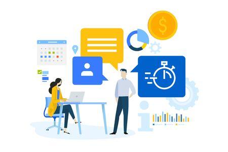 Płaska koncepcja oprogramowania do zarządzania przedsiębiorstwem, analiza danych, zarządzanie zadaniami. Ilustracje wektorowe