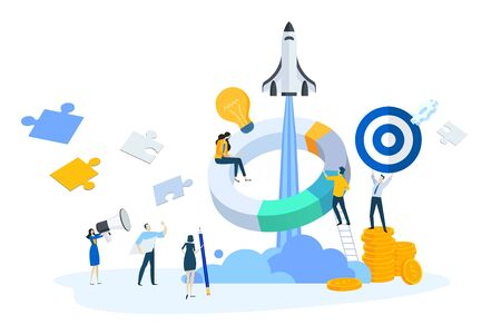 Flat design concept of startup, business plan, launch product or service, teamwork. Ilustracja